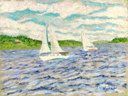 Maine Pastels Framed Prints - Sailing on Casco Bay Framed Print by Collette Hurst