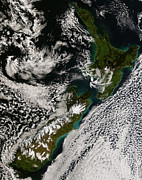 Snow. Ocean Prints - Satellite View Of New Zealand Print by Stocktrek Images