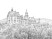 Europe Drawings - Sigmaringen Palace Germany by Joseph Hendrix