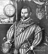 Francis Photo Framed Prints - Sir Francis Drake, English Explorer Framed Print by Photo Researchers, Inc.