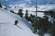 Snow Scenes Prints - Skier Phil Atkinson Skiing Backcountry Print by Tim Laman