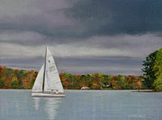 Sailboat Ocean Pastels - Smooth Sailing by Jackie  Hill