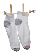 Drying Laundry Posters - Socks Poster by Blink Images
