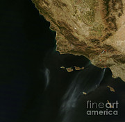 Wildfires Framed Prints - Southern California Wildfires Framed Print by Nasa