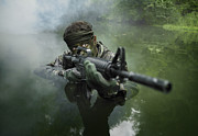Fog Rising Photos - Special Operations Forces Soldier by Tom Weber