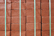 Bound Framed Prints - Stack of Red Bricks Bound Together Framed Print by Skip Nall
