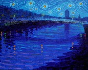 Bridge Framed Prints Posters - Starry Night In Dublin Poster by John  Nolan