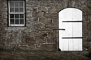 Barn Door Photo Prints - Stone Barn Window Cathedral Door Print by John Stephens