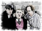 Comics Paintings - 3 Stooges Can You Hear Me Now by Dwayne  Graham