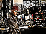Photo Manipulation Mixed Media Posters - Street Phenomenon 50 Cent Poster by The DigArtisT