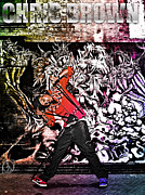 Lil Wayne Mixed Media Metal Prints - Street Phenomenon Chris Brown Metal Print by The DigArtisT