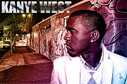 Jay Z Framed Prints - Street Phenomenon Kanye West Framed Print by The DigArtisT