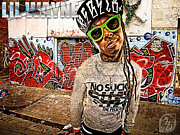 Young Money Framed Prints - Street Phenomenon Lil Wayne Framed Print by The DigArtisT