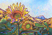 Nadi Spencer Metal Prints - 3 Sunflowers Metal Print by Nadi Spencer