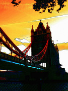 Mystic Sunset Posters - Sunset at Tower Brigde Poster by Stefan Kuhn