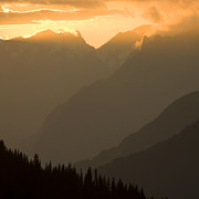 Axalp Prints - Sunset in the mountains Print by Angel  Tarantella