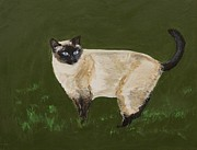Siamese Cat Print Framed Prints - Sweetest Siamese Framed Print by Leslie Allen