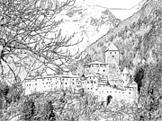 Snow-covered Landscape Drawings Posters - Taufers Knights Castle Valle Aurina Italy Poster by Joseph Hendrix