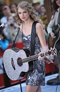 Silver Dress Prints - Taylor Swift On Stage For Nbc Today Print by Everett