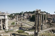 Ancient Ruins Prints - Temple of Saturn in the Forum Romanum. Rome Print by Bernard Jaubert