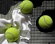 Tennis Digital Art Metal Prints - 3 Tennis Balls Metal Print by Evguenia Men