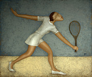 Sports Tapestries Textiles Originals - Tennis by Nicolay  Reznichenko