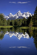 Mountain Reflection Prints - Teton Reflections Print by Andrew Soundarajan