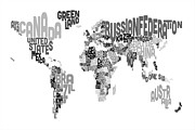 Typographic  Digital Art Posters - Text Map of the World Poster by Michael Tompsett