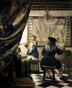 Trumpet Painting Posters - The Artists Studio Poster by Jan Vermeer