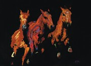 Horse Pastels Metal Prints - The Competitive Edge Metal Print by Frances Marino