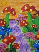 Waterfall Pastels Posters - The Enchanted Mushroom Forest Poster by Adam Wai Hou