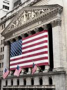 American Flag Manhattan Framed Prints - The Facade Of The New York Stock Framed Print by Justin Guariglia
