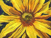 Gold Lame Painting Metal Prints - The flower Metal Print by Odon Czintos