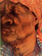 African American Art Pastels Framed Prints - The Gaze Of Mother Witt Framed Print by Curtis James