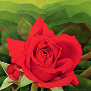 Red Leaves Painting Posters - The Rose Poster by Myung-Bo Sim