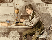 Thomas Alva Edison Posters - Thomas Edison, American Inventor Poster by Science Source