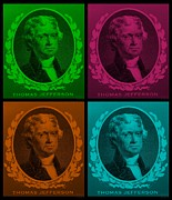 4th July Digital Art Prints - THOMAS JEFFERSON in QUAD COLORS Print by Rob Hans