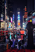 Advertisements Prints - Times Square Print by Benjamin Matthijs