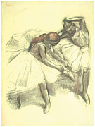 Impressionism Drawings Posters - Two Dancers Poster by Edgar Degas