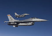 Two By Two Posters - Two F-16s Fly In Formation Over Arizona Poster by HIGH-G Productions