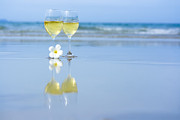 Wine Glasses Prints - Two glasses of white wine Print by MotHaiBaPhoto Prints