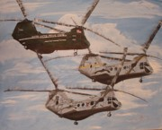 Helicopters Paintings - 3 USMC Helicopters by Jena Gillam