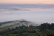 Rocca Posters - Valley Fog in the Val DOrcia at Dawn Poster by Jeremy Woodhouse