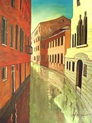 Old Buildings Mixed Media Prints - Venice twilight Print by Dan Haraga