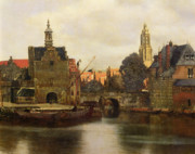 Townscape Posters - View of Delft Poster by Jan Vermeer