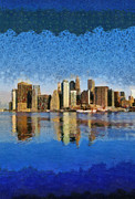 N.y. Art - View of Manhattan from Brooklyn Heights by George Atsametakis