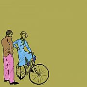 Cute Sexy Prints - Vintage Bike Couple Print by Karl Addison
