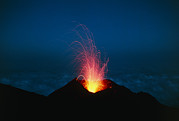 Volcano Prints - Volcano At Night Print by Dr Juerg Alean