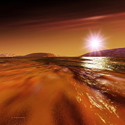 Planets Art - Water On Mars by Detlev Van Ravenswaay