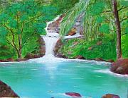 Puerto Rico Painting Originals - Waterfall by Tony Rodriguez